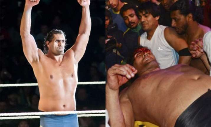 watch khali gets injured during sporting event admitted to
