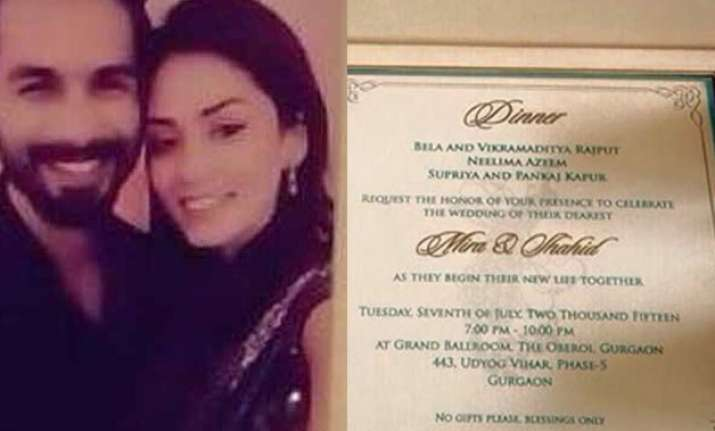 shahid kapoor and mira rajput s wedding card out see pics