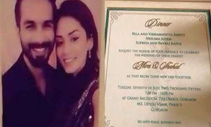 first look wedding card of shahid kapoor and mira rajput