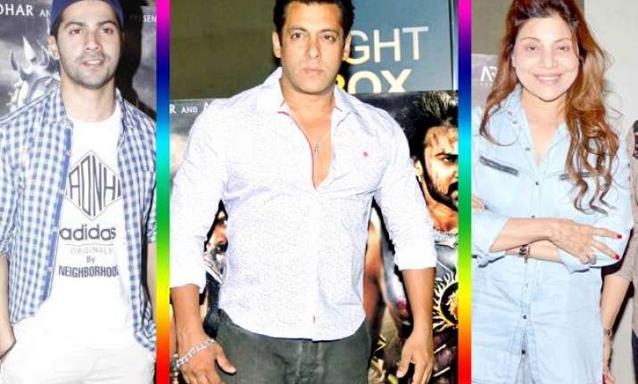 salman khan attends bahubali screening with his three lady