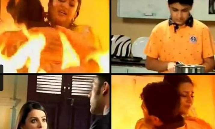 yeh hai mohabbatein ishita jumps in fire to save ruhi