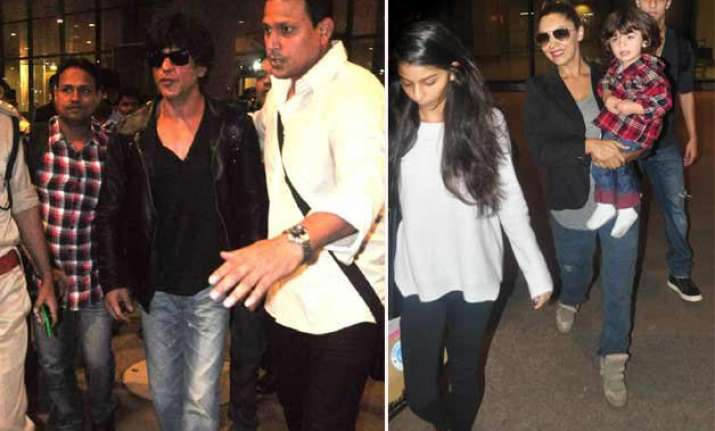 shah rukh khan and family spotted at mumbai airport on