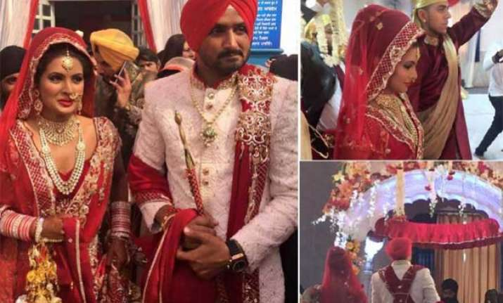 exclusive pics harbhajan singh marries geeta basra