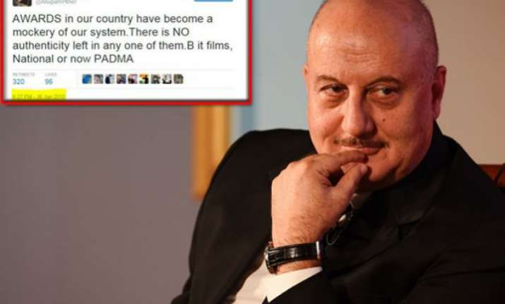 anupam kher s u turn on padma awards lands him in twitter