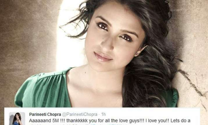 parineeti chopra gets 5 million twitter followers