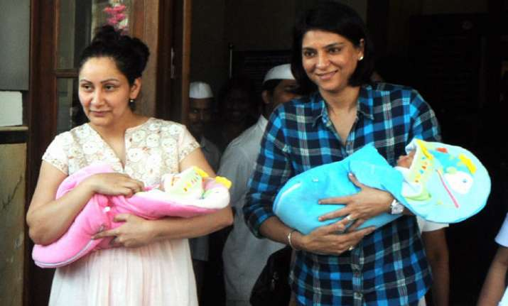 maanyata sanjay back home with twins