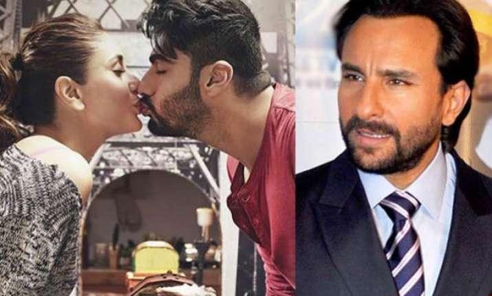 kareena arjun kiss saif ali khan reacts over his begum s