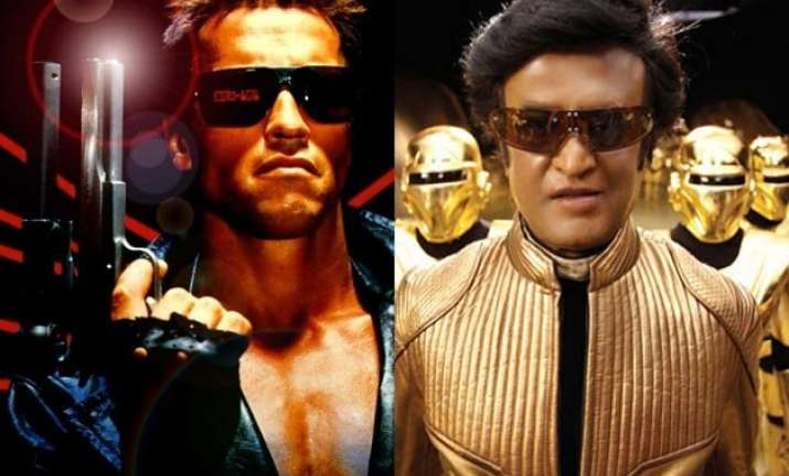 terminator arnold and robot rajini in a movie together