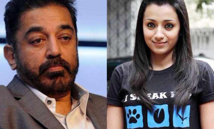 kamal haasan fights with co actor trisha krishnan