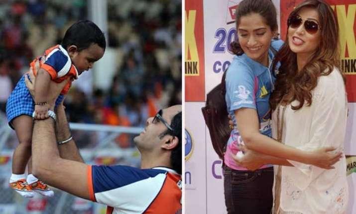 celebrity cricket league candid moments view pics