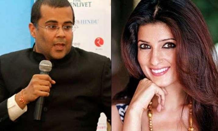 twinkle khanna takes potshots at chetan bhagat s appearance