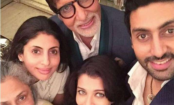 abhishek bachchan takes family selfie on big b s b day