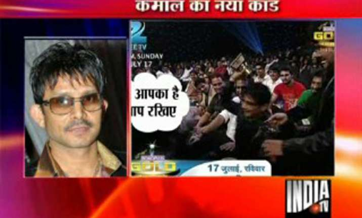 kamal khan throws away golden balti award at zee function