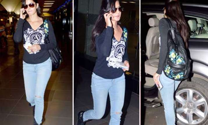 katrina kaif returns from sister s marriage spotted at