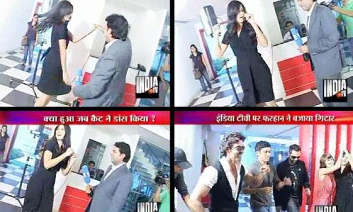 katrina hrithik do a jig at india tv broadcast centre