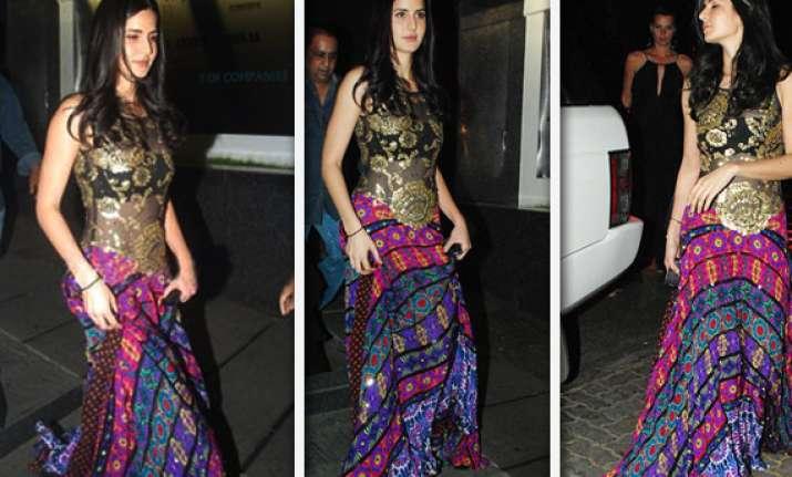 katrina wears a multi colour lehenga to a birthday party