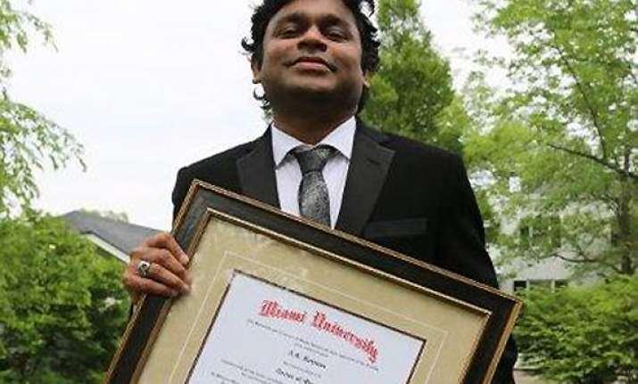 miami university confers doctorate on ar rahman