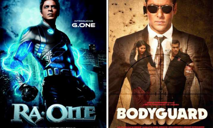 ra.one fails to beat bodyguard at box office on day one
