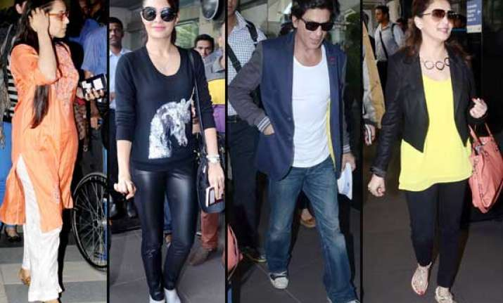 shah rukh rani madhuri jacqueline spotted at airport view