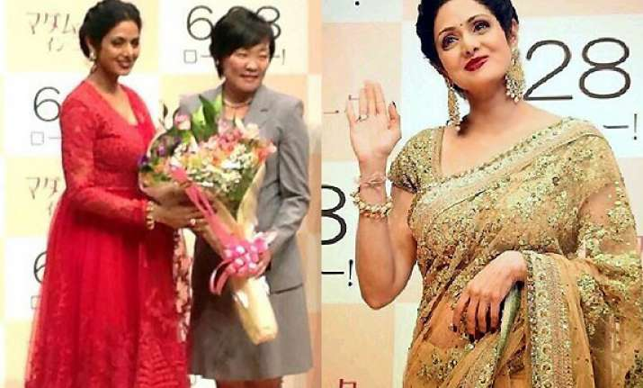 sridevi takes english vinglish to tokyo sizzles in red and