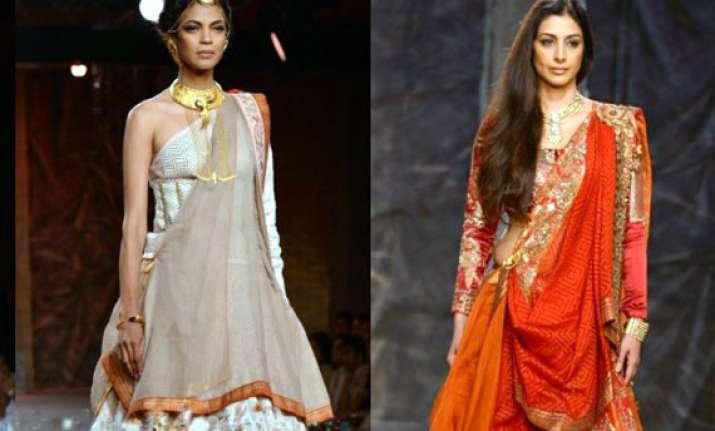 tabu turns draupadi on ramp at couture week