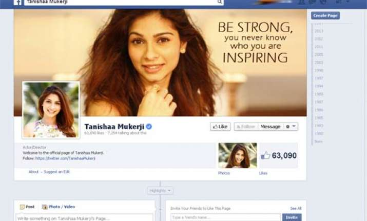 tanishaa mukherjee s official facebook page unveils her