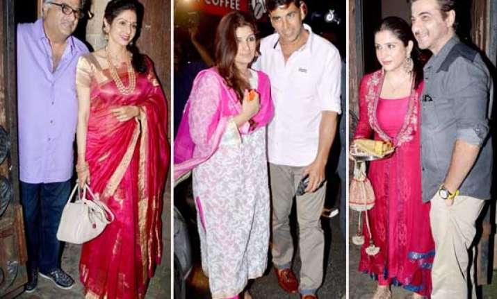 aishwarya sridevi and twinkle celebrate karva chauth view