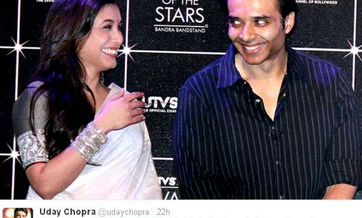 uday chopra tweets about welcoming rani mukerji into chopra