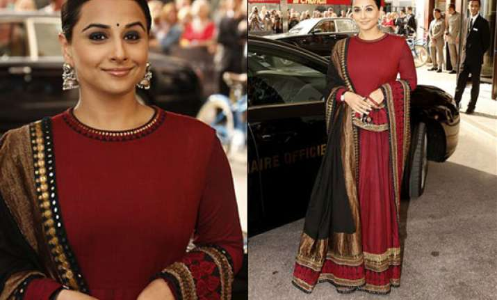 vidya balan dazzles in an anarkali suit at cannes watch pics