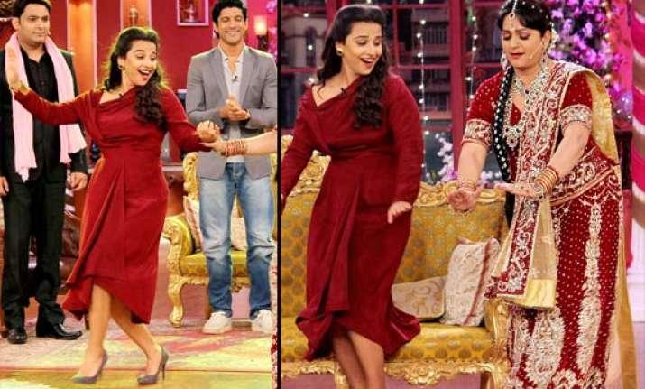 vidya and farhan shake a leg at comedy night with kapil