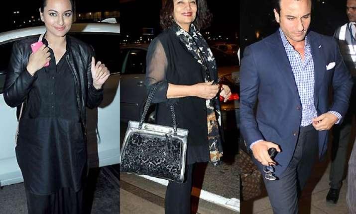 sonakshi sinha shabana azmi saif ali khan spotted leaving