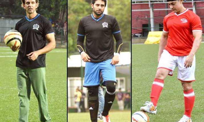 it was aamir vs abhishek for a charity football match