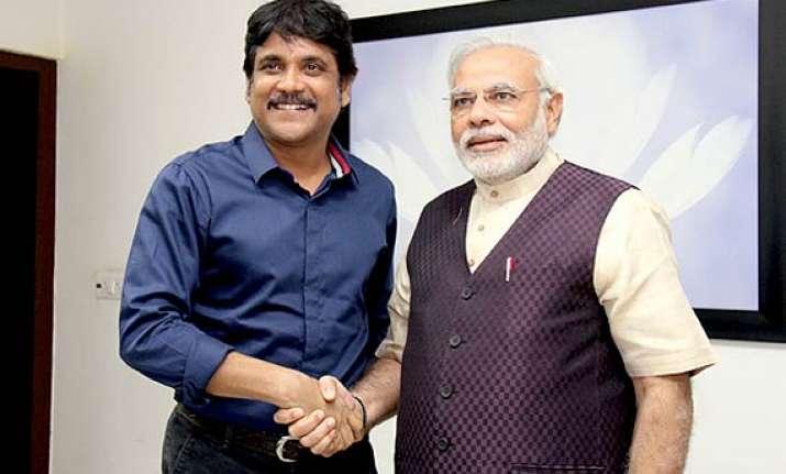 actor nagarjuna meets modi expresses support
