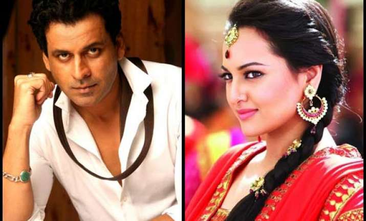 sonakshi sinha and manoj bajpayee out in mathura for tevar