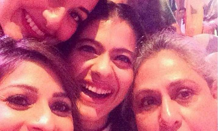 tanishaa takes a selfie with kajol sonakshi and jaya