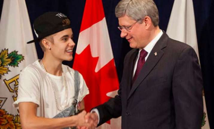 bieber gets honour from canadian prime minister