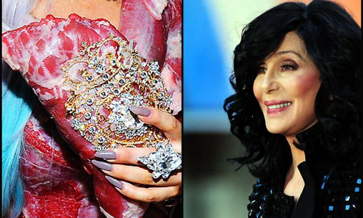 cher finds gaga s meat bag gorgeous