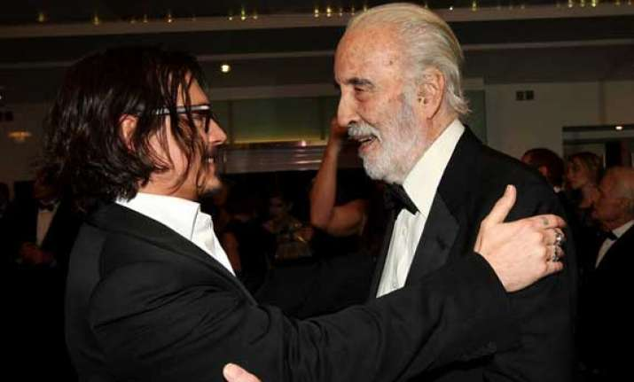 christopher lee presented bfi fellowship by depp