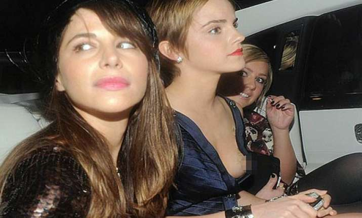 emma watson suffers wardrobe malfunction at pre baftas party