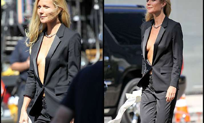 paltrow goes bare under tuxedo view pics