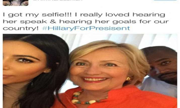 kim and kanye take selfie with hillary clinton