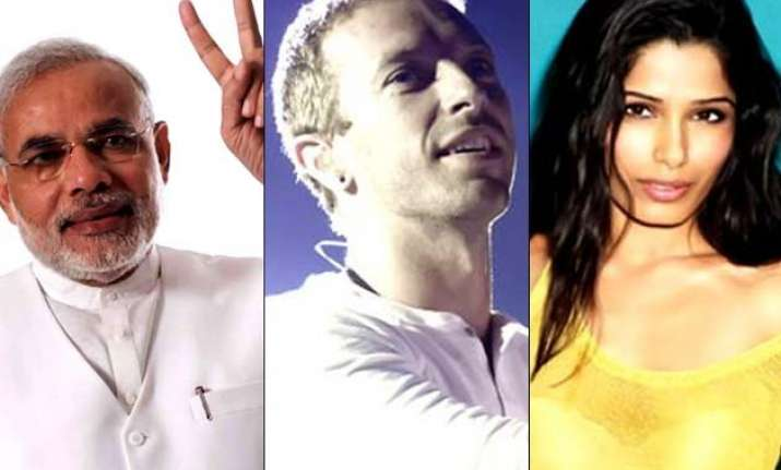 pm narendra modi meets coldplay s chris martin freida pinto