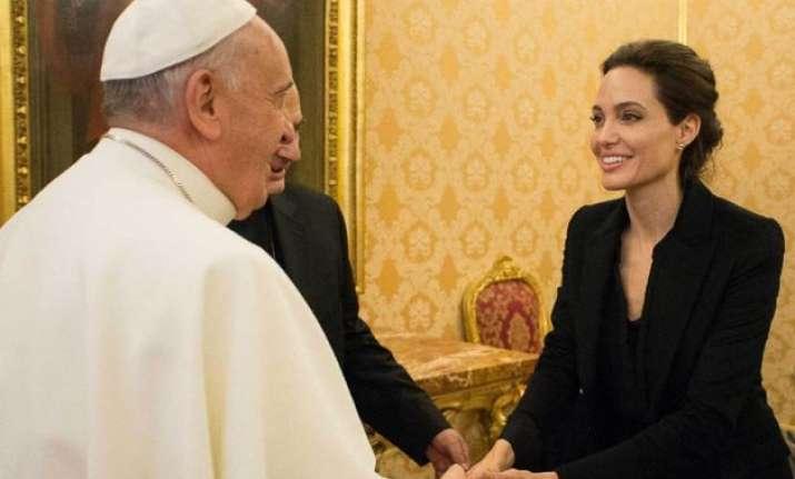 angelina jolie honoured to meet pope francis