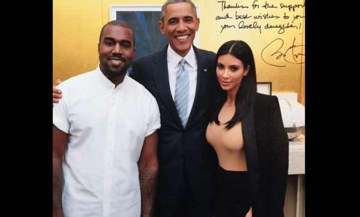 kim kanye poses with president barack obama