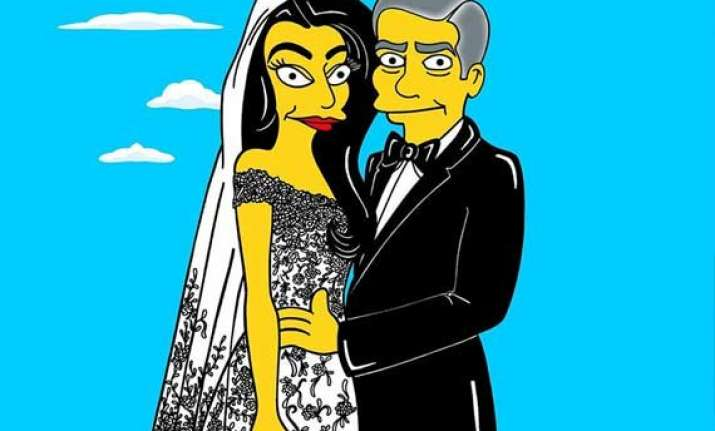 the simpsons recreates clooney alamuddin s wedding