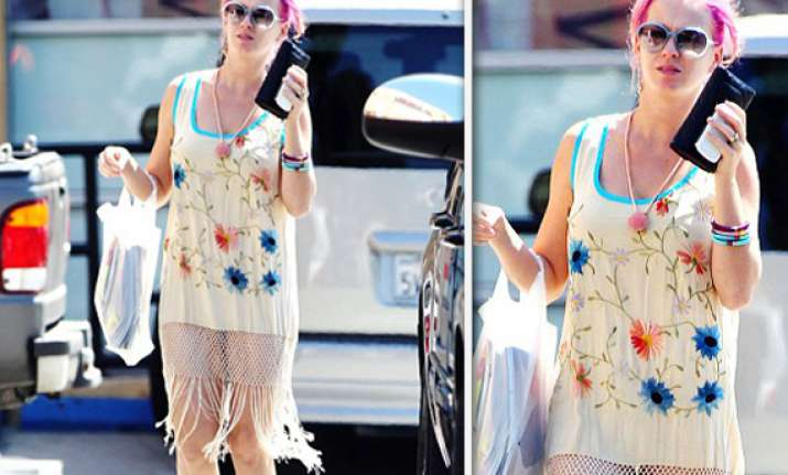 katy perry in barely there tassel outfit and bright pink