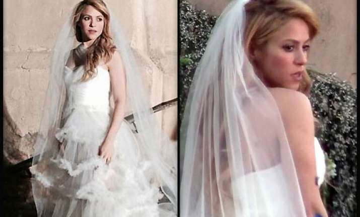 shakira spotted in wedding dress is marriage on cards see