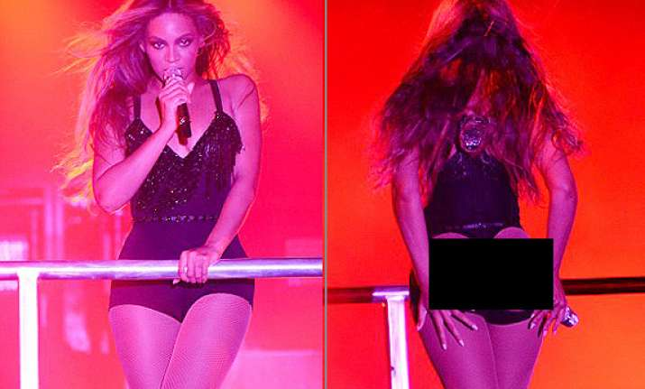 beyonce knowles shows her shapely buttocks in a revealing