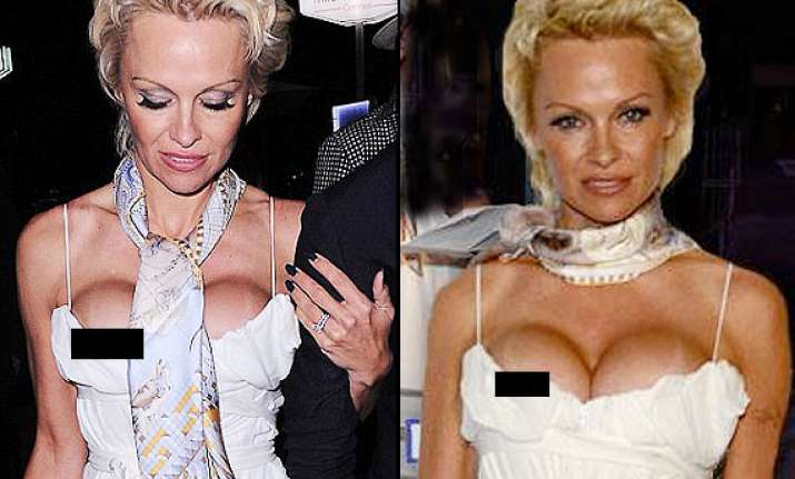 hot pamela anderson reveals huge cleavage faces clear