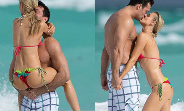american actress joanna crupa romances with fiance in miami
